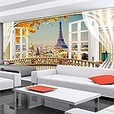 XIANRENGE Papel Tapiz Mural 4D Personalizado,Balcón París Torre Escénica del Paisaje De Fondo Photo TV HD Grandes Murales De Seda Arte Imprimir Cartel De Salón Dormitorio Decoracion,280Cm(H)×460Cm(W)
