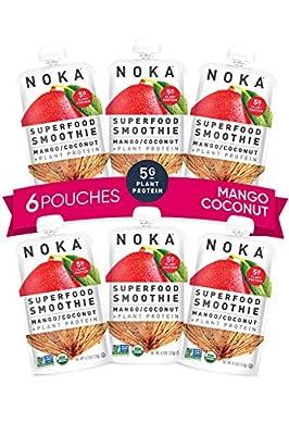 NOKA Superfood Pouches (Mango Coconut) | 100% Organic Fruit And Veggie Smoothie Squeeze Packs | Non GMO, Gluten Free, Vegan, 5g Plant Protein | 4.2oz Each