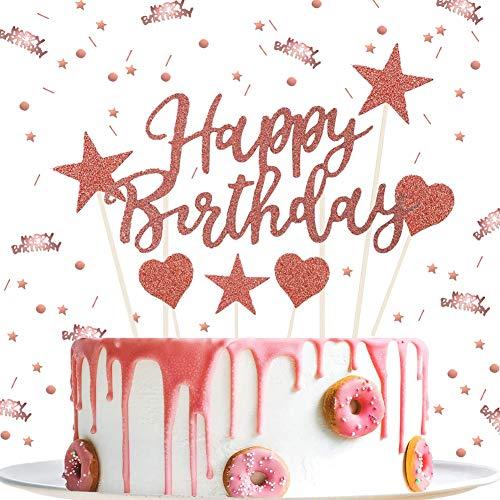 ENSTAB Tortendeko Geburtstag Rosegold mit Happy Birthday Konfetti Rosegold Tischdekoration Sterne Cake Topper Kuchendeko Geburtstag Mädchen Frau