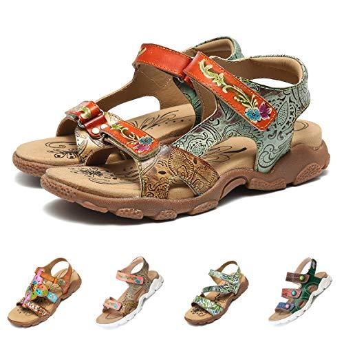 Camfosy Damen Leder Wandern Flach Sandalen,Sommer Outdoor Sport Sandalen Urlaub Freizeit Handgefertigt Schuhe Verstellbare Klettverschluss Gemütliche Barfuß-Gefühl Wanderschuhe Blau 37 EU