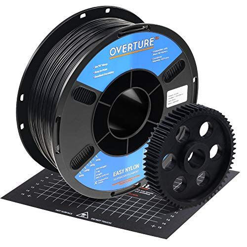 OVERTURE Nylon Filament 1.75mm with 3D Build Surface 200mm × 200mm 3D Printer Consumables, 1kg Spool (2.2lbs), Dimensional Accuracy +/- 0.05 mm, Fit Most FDM Printer (Black)