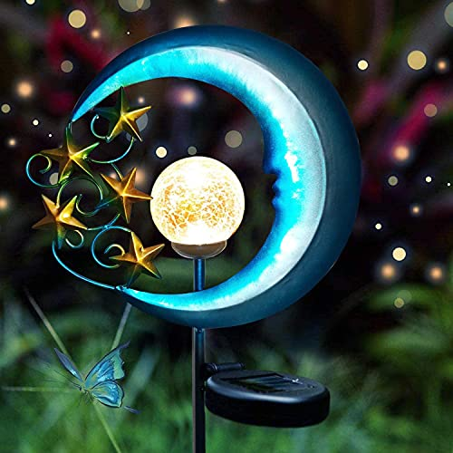 Tquuquu Solar lights, stars and moon lights, outdoor garden lights, decorative cracked glass globes, LED roads, courtyards, lawns, terraces, waterproof landscape lighting, ground-insertion lights