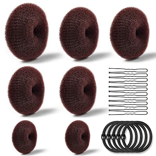 Donut Bun Maker, TsMADDTs Hair Ring Style Bun Maker Set with 7pcs Hair Bun Makers 5pcs Hair Elastic Bands 20pcs Hair Pins Dark Brown