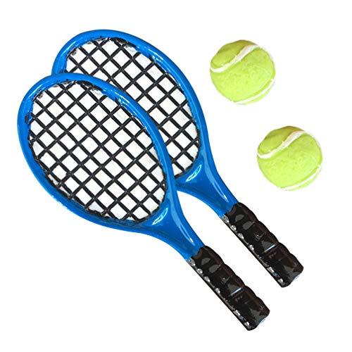 HEALLILY 4Pcs Miniatura Acessório Boneca de Raquete De Tênis Raquete De Tênis E Raquete De Tênis E Uma Bola de Esferas Em Miniatura para As Crianças