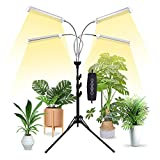 Grow Lights for Indoor Plants,Full Spectrum with 58' Extendable Tripod Stand,200W Auto On/Off Timing Function Four-Heads Floor Plant Grow Light for Various Plants