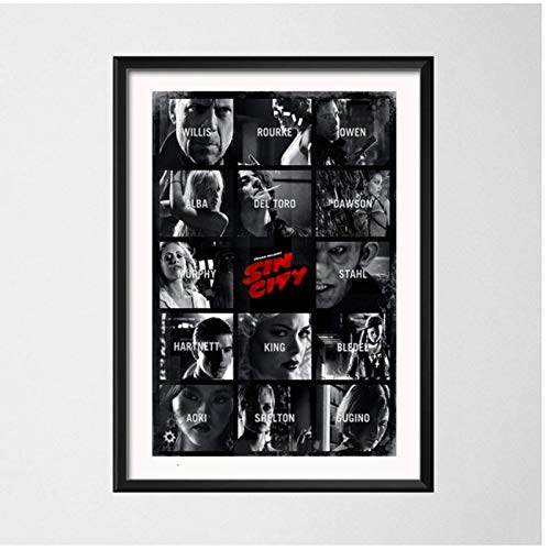YANGDINGYAO Póster Sin City Quentin Tarantino Movie Art Painting Vintage Canvas Poster Wall Home Decor-24X32In Sin Marco