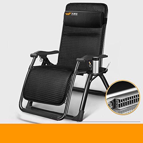 Gymqian Tumbona, silla de gravedad cero, tumbonas, cama de la siesta de la oficina, silla de playa de ocio, cama acompañante del hospital asientos al aire libre eh/Soporte negro /