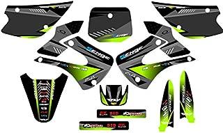 Senge Graphics kit compatible with Kawasaki 2001-2013 KX 85/100, Surge Black Graphics Kit