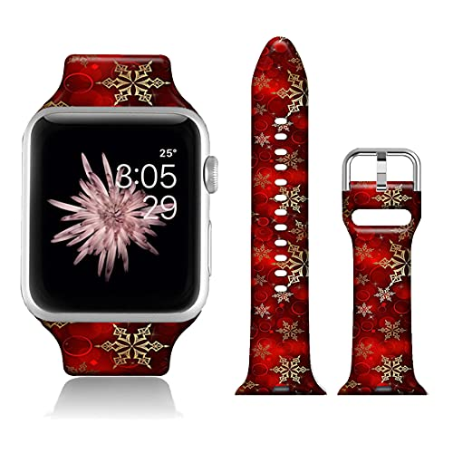 Christmas Watch Bands Compatible with iWatch 40mm 38mm iWatch SE & Series 6 Red Snowflake, FTFCASE Flower Printed Soft Silicone Sport Strap Replacement for Series 6 5 4 3 2 1 for Women Men Girls