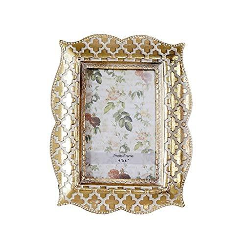 QTBH Picture Frame Golden Vintage Engraving Resin Photo Frame Desktop Decorative Ornaments Wall-mounted Home Decoration Photo Frame 22×18 cm Photo Picture Frame