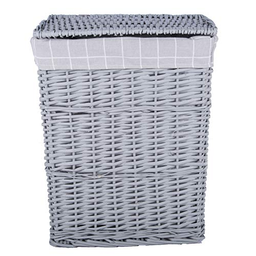 Grey Paint Laundry Wicker Basket Cotton Lining With Lid (Medium)