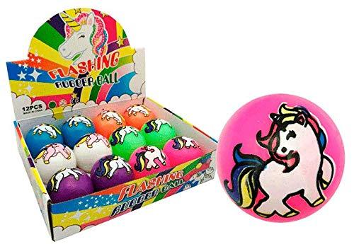 DISOK - Lote de 12 Pelotas Unicornio Luces. Pelotas Originales para Regalar como Detalle en comuniones, Fiestas, cumpleaños, Material Escolar.