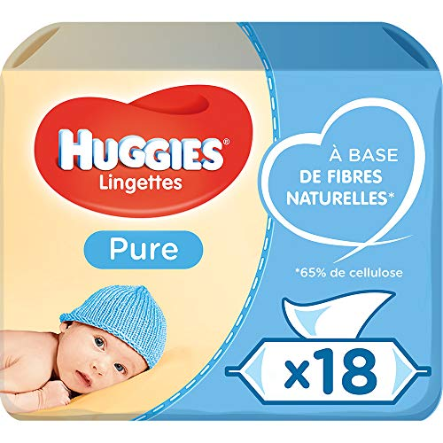 Huggies Pure Baby Wipes Bulk, 99% Water, Sensitive, 1008 Wet Wipes (18 packs x 56 Wipes)