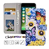 iPhone 8 Wallet Case, iPhone 7 Wallet Case, MagicSky Premium PU Leather Flip Folio Case Cover with Wrist Strap, Card Holder, Kickstand for Apple iPhone 8 / 7 / iPhone SE (2020) ,Butterfly over Flowers