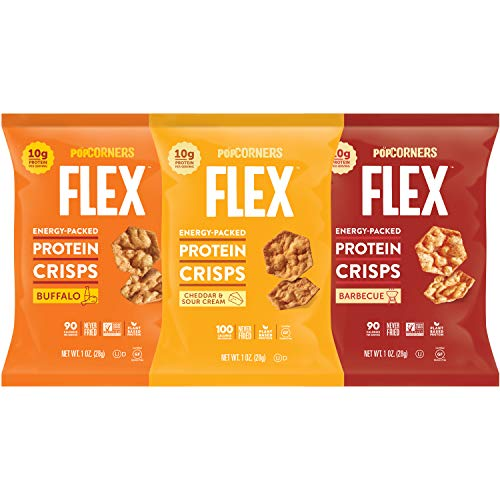Popcorners Flex Protein Chips Variety Pack (3 Flavor), Variety Pack, 1 Ounce (Pack of 20)