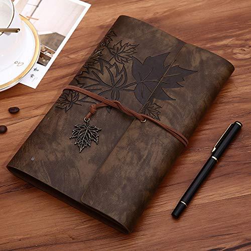 Hoja retro A5 A6 A7 diario cuaderno Agenda cubierta de cuero de imitación cuaderno para la escuela oficina papelería viajeros regalo A7 marrón