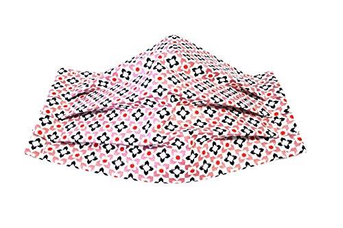 Behelfs Nasen Mund Bedeckung Alltagsmaske Baumwolle mit Nasenbügel weiss mit Muster waschbar