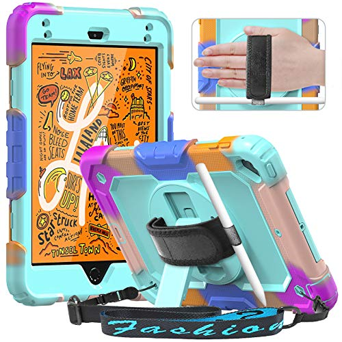 Timecity Case for iPad Mini 5/4 2019 and 2015, Full-body Protective Case for Mini 5th/4th Generation 7.9 with Screen Protector, 360° Rotatable Kickstand, Hand/Shoulder Strap, Light Blue (Multicolor)