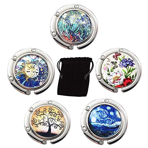 ManLee 5pcs Handtaschenhalter Taschenhalter für Tisch Taschenhaken Faltbare Handtasche Tasche Hange Geldbörse Hook Geschenk für Frauen Mädchen
