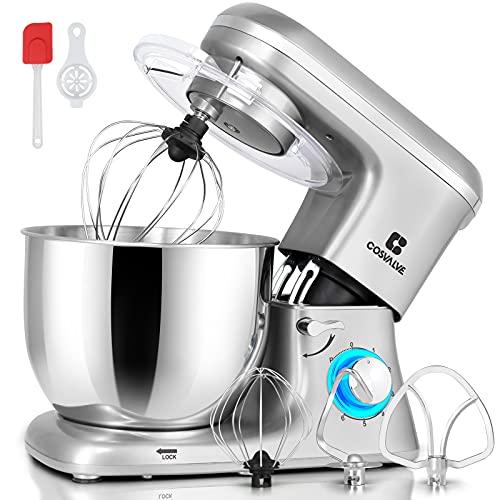 COSVALVE Küchenmaschine Knetmaschine 1400W, 7L Edelstahlschüssel mit Rührbesen, Knethaken, Schlagbesen, Spritzschutz, 6 Geschwindigkeit mit Geräuschlos Teigmaschine (Silber)