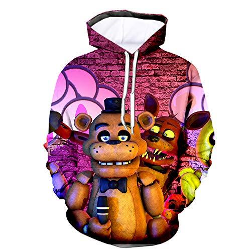 Five Nights FNAF Hoodies, 3D gedruckte Unisex FNAF Sweatshirts Erwachsene Kinder Crazy Games Pullover Herren Damen Sport Streetwear Oberbekleidung Comic Print Kordelzug Jacke Outfit