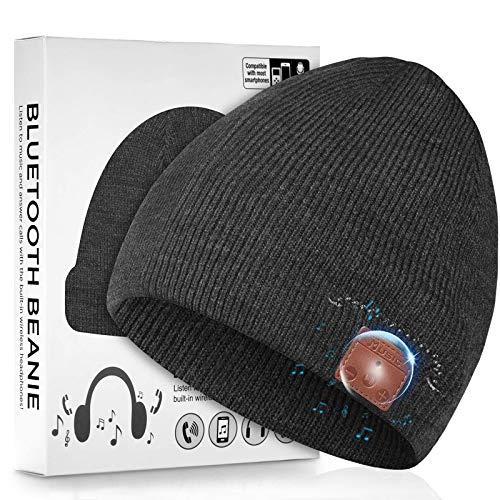 Enjoybot - Gorro de Lana con Bluetooth V5.0, inalámbrico, con micrófono Integrado Desmontable y Altavoces estéreo HD, Hombres, Mujeres, niñas y niños (Color carbón)