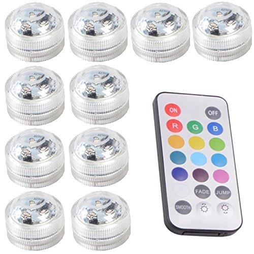 10PCS Submersibles LED Lumières étanches étanches SMD 3528 RGB Mood Lights Pour vase, Bols, Piscine, Baignoire, Aquarium et Décoration de Fête Offre Télécommande IR (Multi-Color,Unicolor)