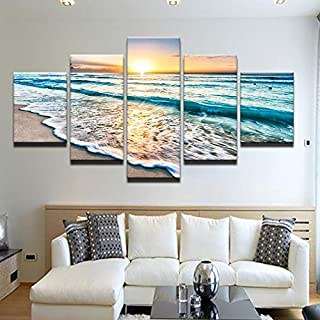 AHJSN Sunset Beach Landscape Canvas Print Wall Art Nordic Poster Picture Mural Artwork For Home Living Room Decoration 30x...