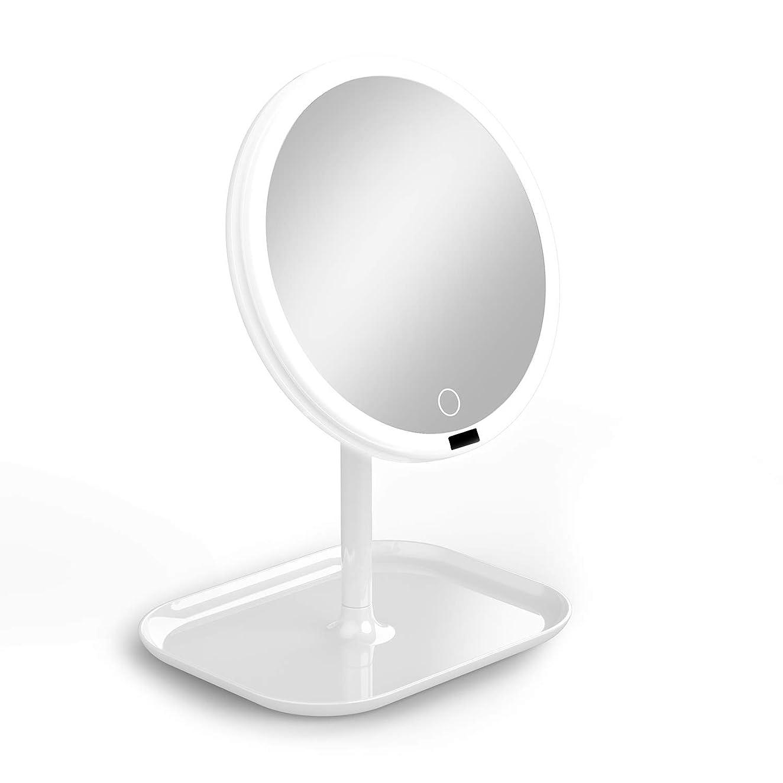 雨発行する君主La Farah 化粧鏡 化粧ミラー LEDライト付き 卓上鏡 女優ミラー 3段階明るさ調節可能 180度回転 コードレス 充電式 円型