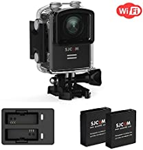 Action Camera SJCAM M20 4K Sports Camera WiFi Cam Wide-Angel and GYRO 1.5 inch LCD Screen 30M Water Resistant with 2Extra Batteries+ Dual Charger,Waterproof Underwater Cam case -Black