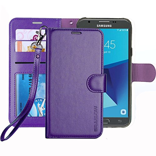 ERAGLOW Galaxy J7 V / J7 Perx / J7 Sky Pro / J7 Prime / J7 2017 / Galaxy Halo Case Luxury PU Leather Wallet Flip Protective Case Cover with Card Slots and Stand for Samsung Galaxy J7 2017 (Purple)