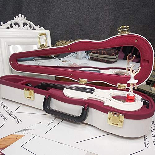 Cajas de música Violín retro proyector de película fonógrafo máquina de coser de la caja de música de la bailarina de la joyería caja de regalo de cumpleaños ( Color : Violin white , Size : Gratis )