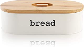 SveBake Metal Bread Box for Kitchen Counter Vintage & Retro Bread Bin with Bamboo Lid, Cream (Included a Free PDF Baking E-BOOK) (Renewed)