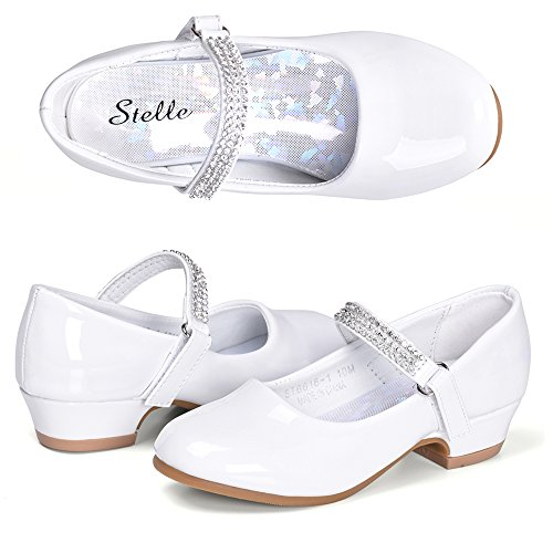 STELLE Girls Mary Jane Shoes Low Heel Party Dress Shoes for Kids (13ML, T02-White)