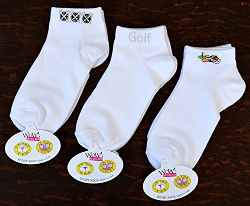 WOW!socks Edle Damen Golfsocken 3 Paar One Size Fits All (Gr.36-40) - Made in USA Ein Tolles Golfgeschenk für die Dame (Mix: 6 Tees on Ball + Golf-Points Silver + Shoes and Cap)