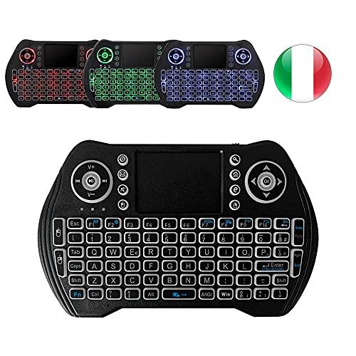 A5X Mini tastiera wireless retroilluminata con 3 colori, tastiera remota portatile wireless 2.4GHz con touchpad per Pad Tablet PC Android TV Box, OS Windows Smart TV IPTV USB, layout Italiano