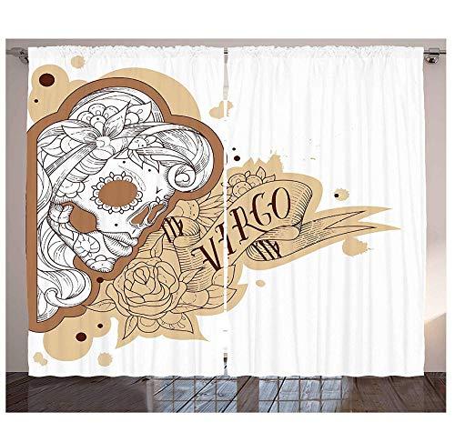 MUXIAND Zodiac Maagd Gordijnen Gotische Mexicaanse Vrouwelijke Portret Suiker Schedel Horoscoop Tattoo Woonkamer Slaapkamer Raam Drapes Bruin Bleke
