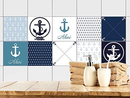 GRAZDesign Fliesenaufkleber Bad Blau - Weiß Anker AHOI maritim, Fliesenbilder für Bad, Fliesen zum Aufkleben Fliesenfolie / 10x10cm / Set 10 Stück