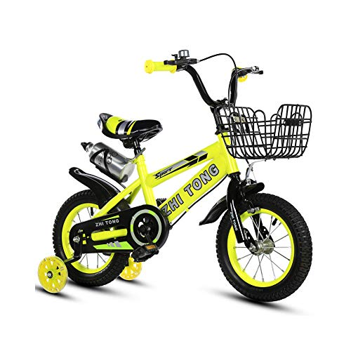 Bicicleta para niña de 2 a 7 años, con Freno de contrapedal, Modelo de 12/14/16/18 Pulgadas, Color Azul, Rojo, Amarillo + Taza de Agua,Amarillo,12INCH