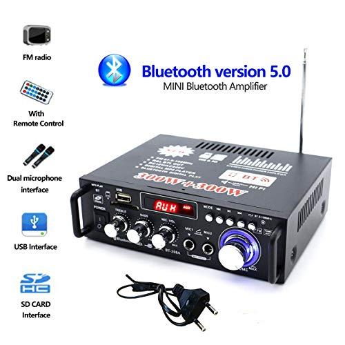 Jiayida 298A Mini Bluetooth HiFi Stereo Digitaler Verstärker FM Radio Subwoofer Power Amplifier Audio Amp Treble Bass Control Car Audio Home Speaker Digitaler Verstärker Hi-Fi Endstufe, 220V 12V