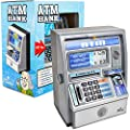 Ben Franklin Toys Kids Talking ATM Machine Savings Piggy Bank with Digital Screen, Electronic Calculator That Counts Real Money, and Safe Box for Kids, Silver