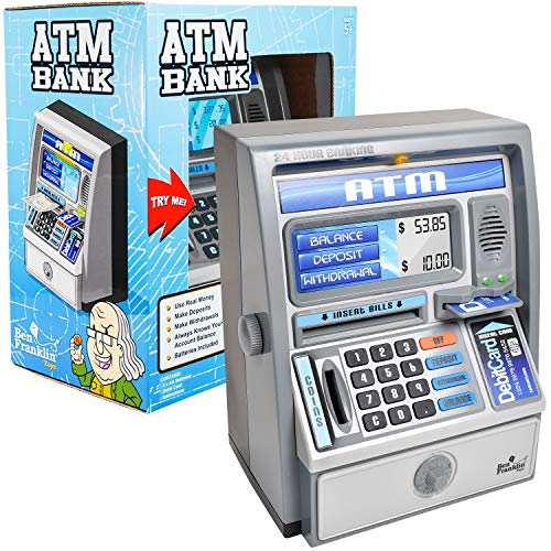 Ben Franklin Toys Kids Talking ATM Machine Savings Piggy Bank with Digital Screen Electronic Calculator That Counts Real Money and Safe Box for Kids Silver