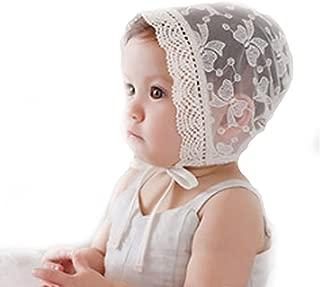 Funkeet Baby Bonnets for Girls Summer Lace Hat Beanie Newborn Infant Cap White