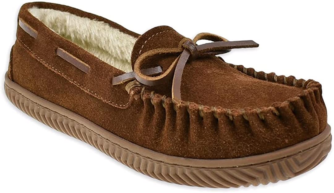 Brown Suede Moccasin Slippers