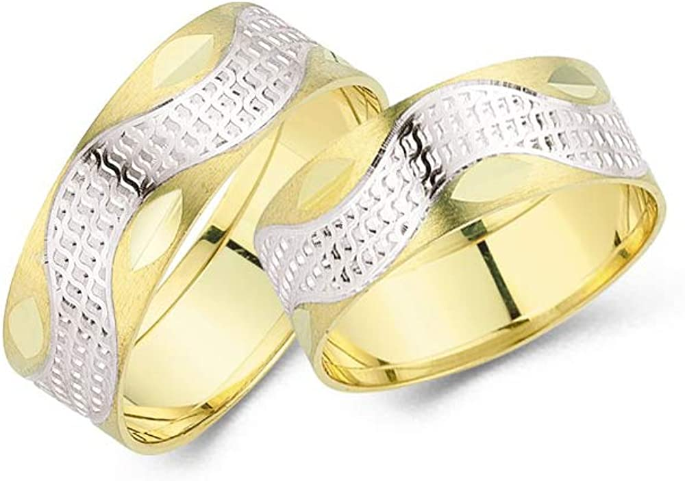 Anelise 14K Real Solid Yellow White Fine Gold 1209 Wedding Band Rings Set For Women and Men - 2.1 gr + 2.1 gr 7 mm Dainty Rings