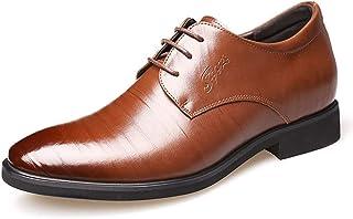 [HAPPYDAY] シークレットシューズ 本革 革靴 ビジネスシューズ メンズ 背が高くなる靴 ロングノーズ 外羽根 プレーン【 6cm アップ 】 ヒールアップシューズ 革靴 フォーマル 結婚式 冠婚葬祭 新郎 ブラック ブラウン