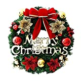 Daesar Corona de Navidad,30CM,Bolas de Navidad y Lazo Flores...