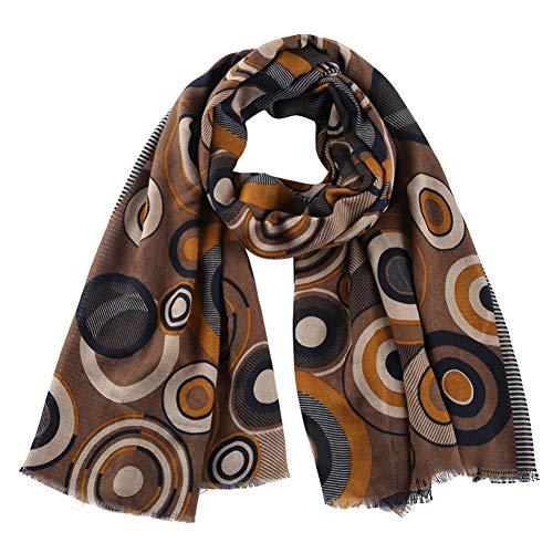 MYTJG Lady sjaal bruin retro ronde bedrukte sjaal dames herfst en winter warme sjaal