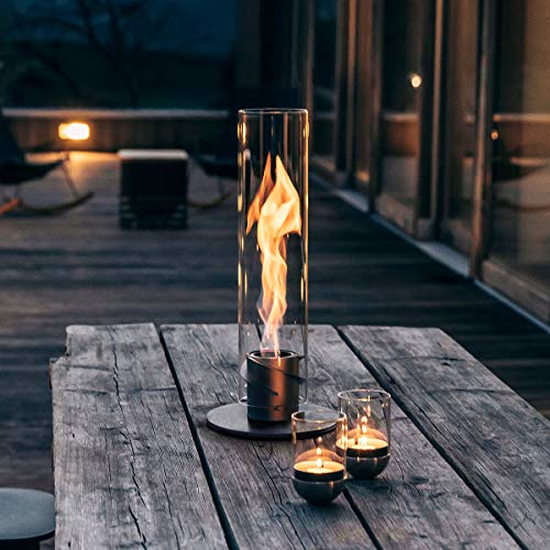 höfats Spin 90 argento cartuccia di ricambio compresa - camino a bioetanolo indoor e outdoor - focolare da tavola lanterna e fiaccola per giardino in acciaio