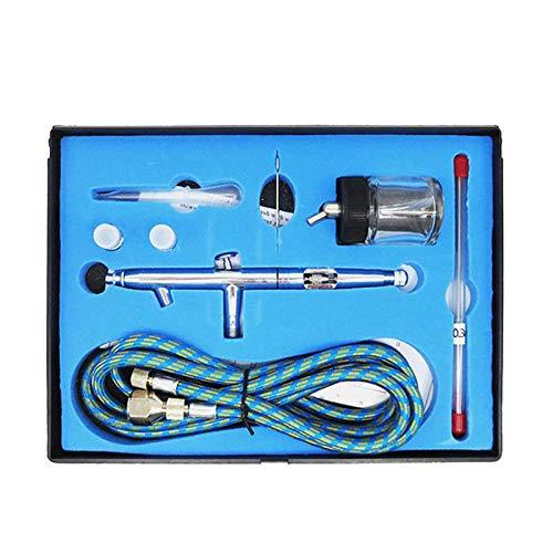 Apagado Kit de aerógrafo Kits de aerógrafo con kit de avión de avión de alimentación lateral Dual Pistola de pulverización con asador de aerógrafo HOSE0.3 / Boquillas de 0.8mm para la decoración de pa